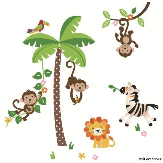 Nursery Wall Sticker Decals   Jungle Monkeys & Palm Tree, Lion, Zebra