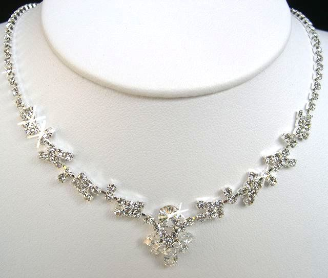Bridal Crystal Necklace Earrings Set Prom Wedding Pageant Jewelry