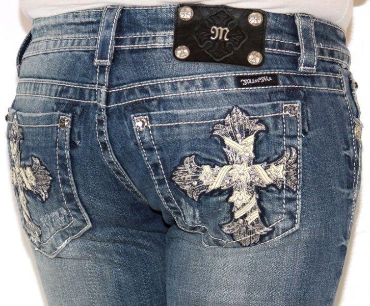 Womens MISS ME JEANS Shimmer Cross Studded Rhinestone JP5445B Bootcut