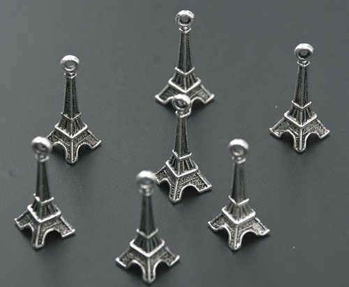 120 Tibetan Silver 3D Eiffel Tower Charms Pendants
