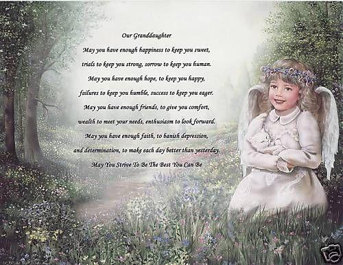 Granddaughter Poem Personalized Name Angel Print Prayer