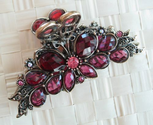 VARY COLORS SWAROVSKI CRYSTAL BIG BUTTERFLY HAIR CLAW CLIP 874 VINTAGE