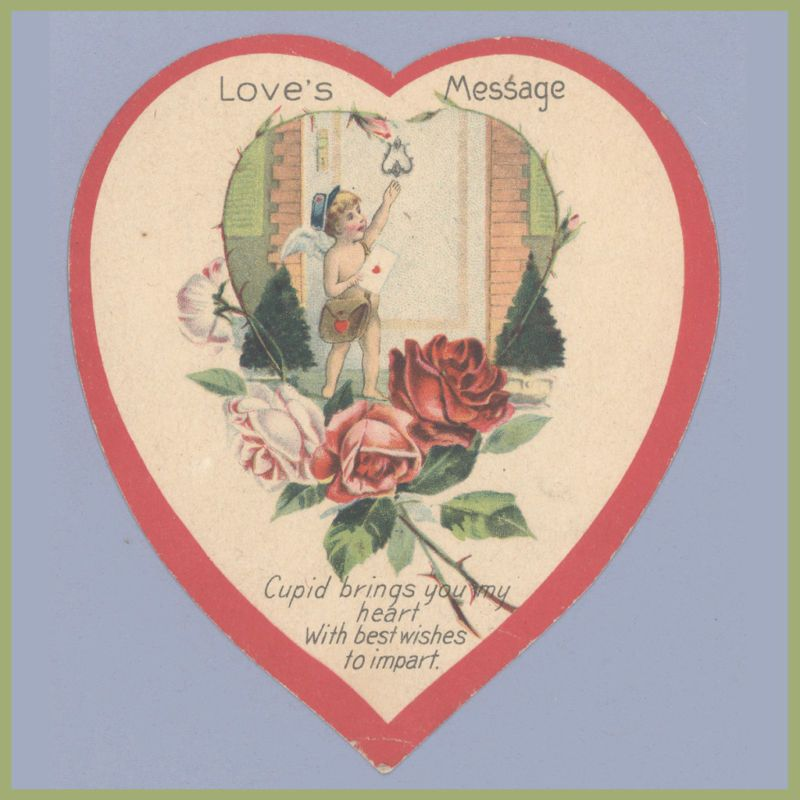 Vintage Valentines Day Card CUPID Mailman 1920s LETTER