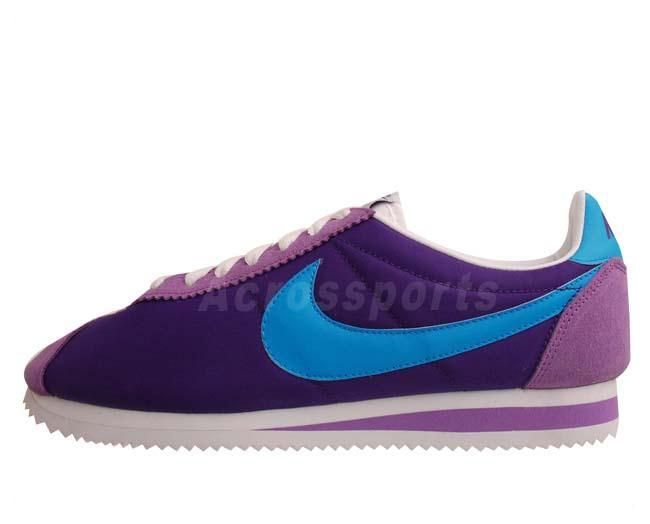 Nike Classic Cortez Nylon Purple Blue Mens Retro Running Casual Shoes