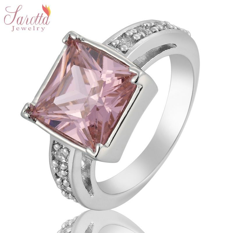 Princess Cut Fashion Jewelry Pink Sapphire Lady 18k Gold Plated Ring 6