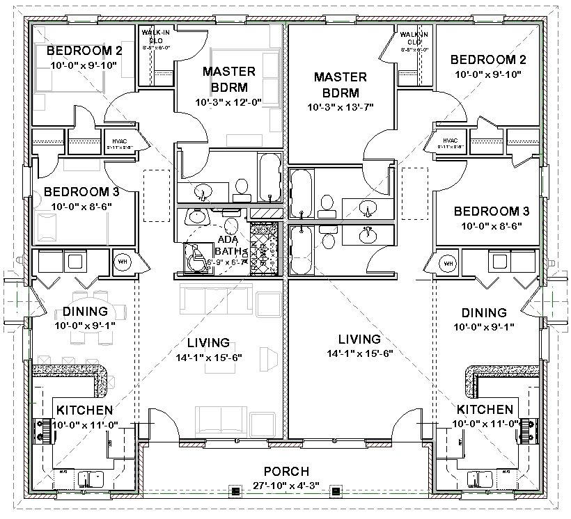 Duplex house plans full floor plan for Semi duplex house plans